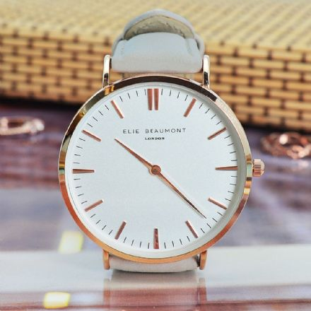 Women's Elie Beaumont Personalised Modern-Vintage Stone Leather Watch
